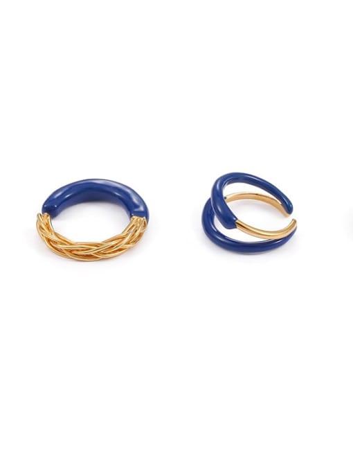 Five Color Brass Enamel Star Minimalist Band Ring 3