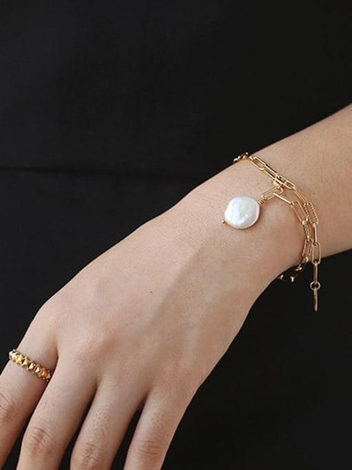 TINGS Brass Freshwater Pearl Geometric Chain Minimalist Link Bracelet 1