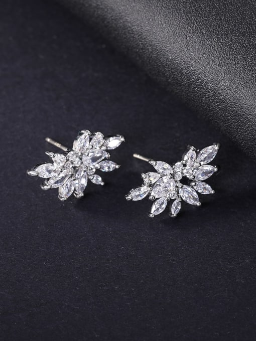 OUOU Brass Cubic Zirconia Flower Statement Stud Earring