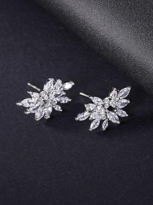 platinum Brass Cubic Zirconia Flower Statement Stud Earring