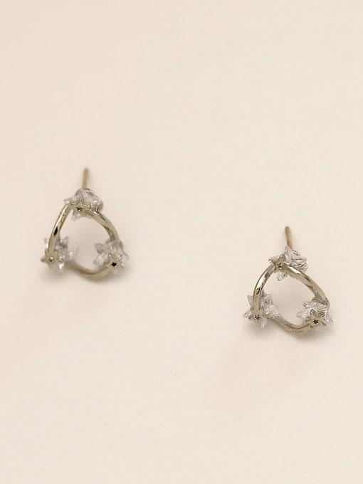 White K Brass Cubic Zirconia Heart Minimalist Stud Earring