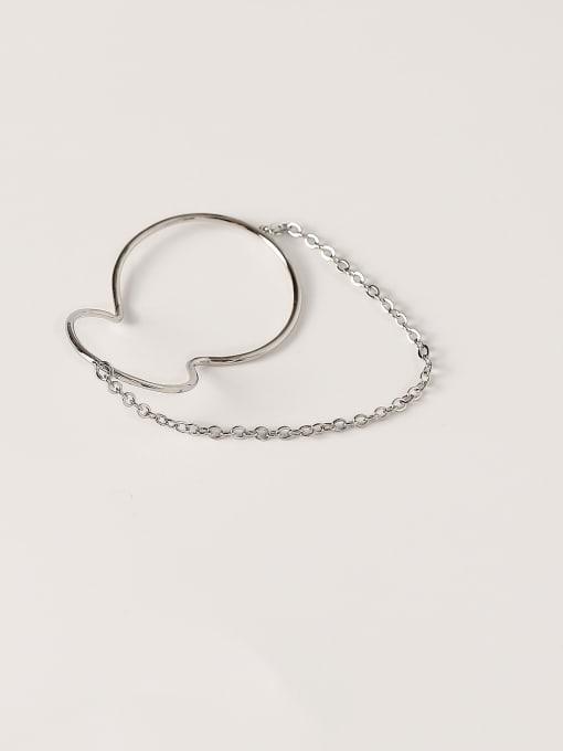 White K Brass Geometric Minimalist Clip Earring