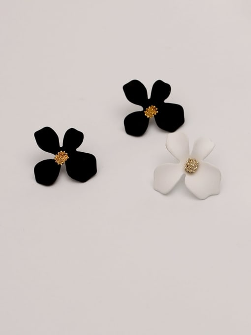 HYACINTH Brass Enamel Flower Cute Stud Earring 2