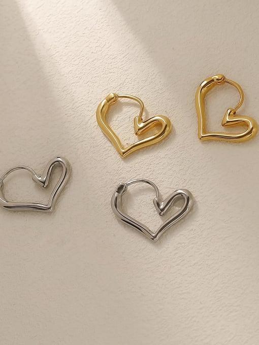 HYACINTH Brass Hollow Heart Minimalist Huggie Trend Korean Fashion Earring 2