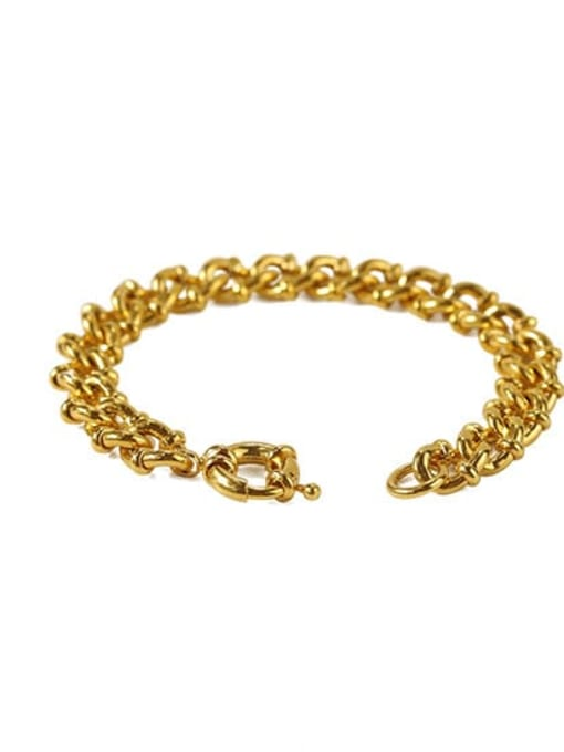 ACCA Brass Hollow Geometric Chain Hip Hop Link Bracelet 2