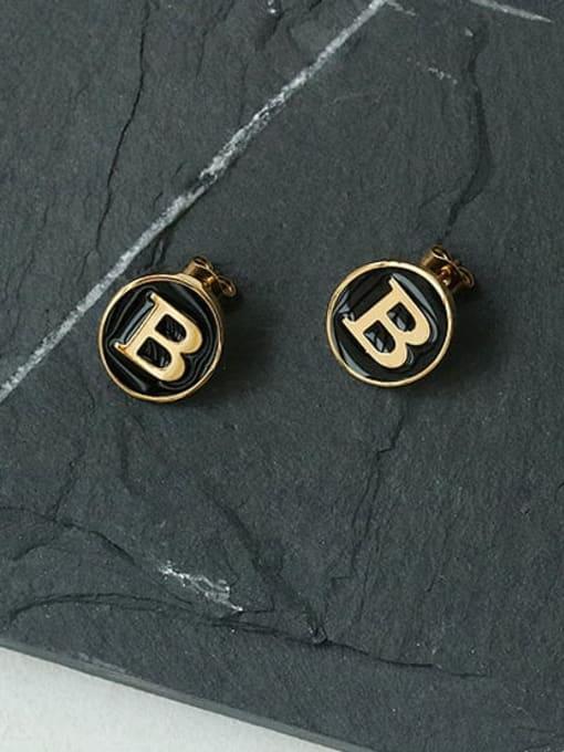 ACCA Brass Enamel Letter Cute Stud Earring 4