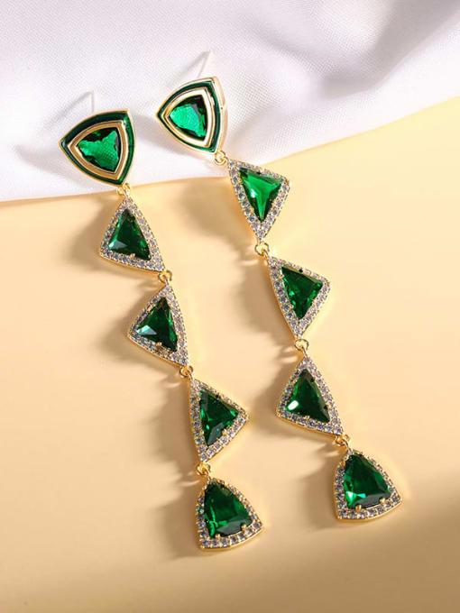 green Brass Cubic Zirconia Triangle Luxury Drop Earring