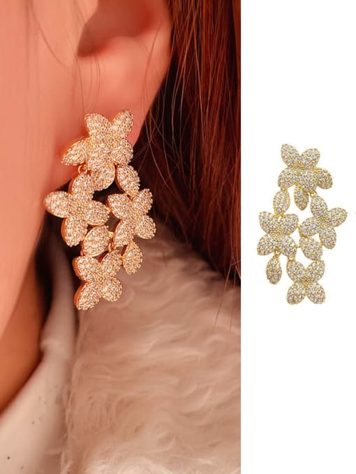 OUOU Brass Cubic Zirconia Flower Statement Cluster Earring 1