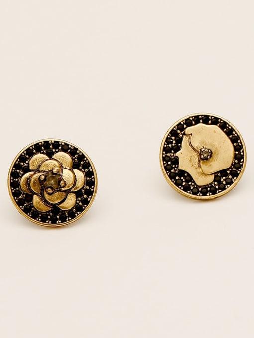 HYACINTH Brass Asymmetrical Flower Vintage Stud Earring 2