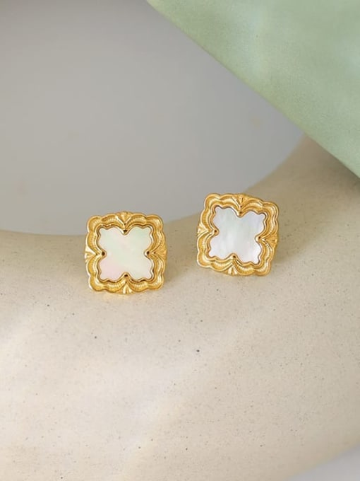 Five Color Brass Shell Square Vintage Stud Earring 0