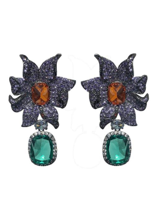 blue Brass Cubic Zirconia Flower Vintage Drop Earring
