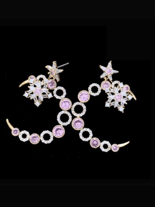 SUUTO Brass Cubic Zirconia Geometric Luxury Stud Earring 0
