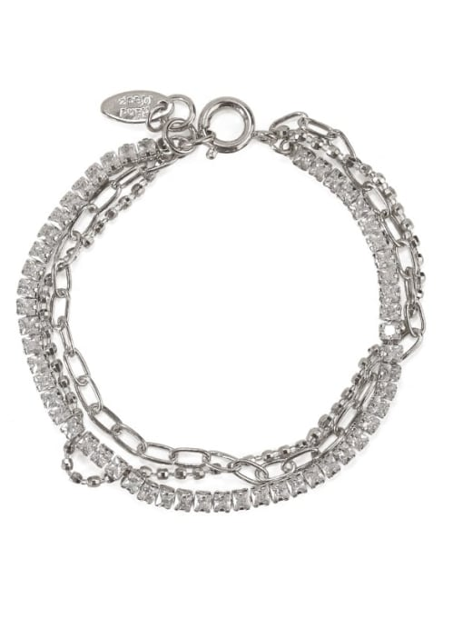 ACCA Brass Cubic Zirconia  Vintage Three layered rhinestone bracelet 3