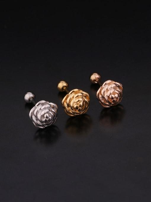 HISON Brass Cubic Zirconia Flower Hip Hop Stud Earring 3
