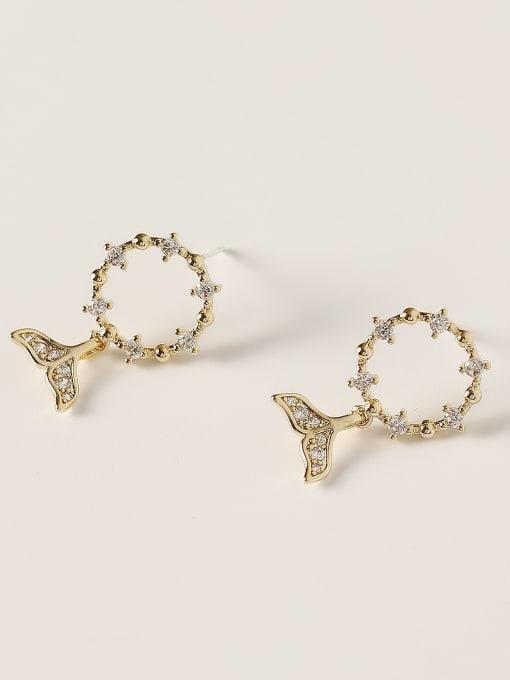 HYACINTH Brass Cubic Zirconia Fish Minimalist Stud Earring