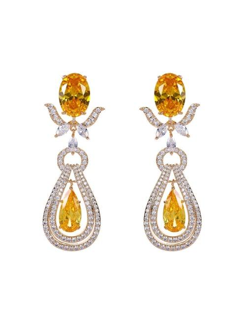 OUOU Brass Cubic Zirconia Water Drop Luxury Drop Earring 0