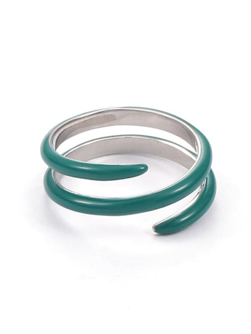 Double solid Zinc Alloy Enamel Geometric Minimalist Stackable Ring