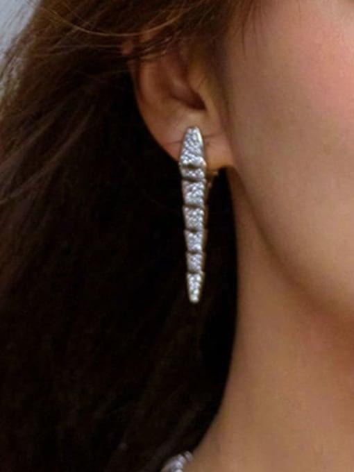 SUUTO Brass Cubic Zirconia Irregular Statement Stud Earring 2