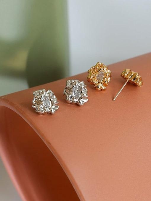 Five Color Brass Cubic Zirconia Irregular Hip Hop Stud Earring 1
