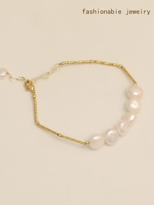 HYACINTH Brass Freshwater Pearl Geometric Minimalist Beaded Bracelet 1