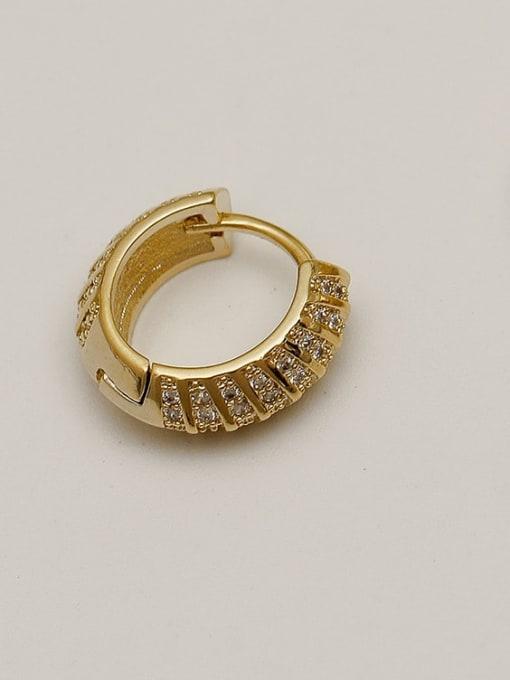 14k gold Brass Cubic Zirconia Geometric Vintage Huggie Earring