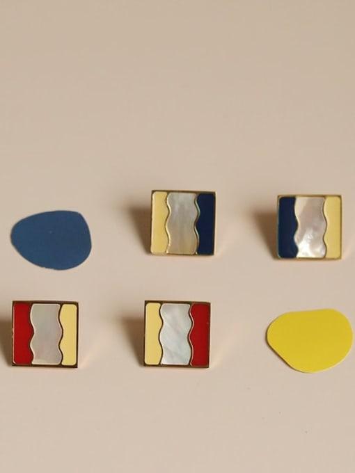 Five Color Alloy Enamel Geometric Vintage Stud Earring 2