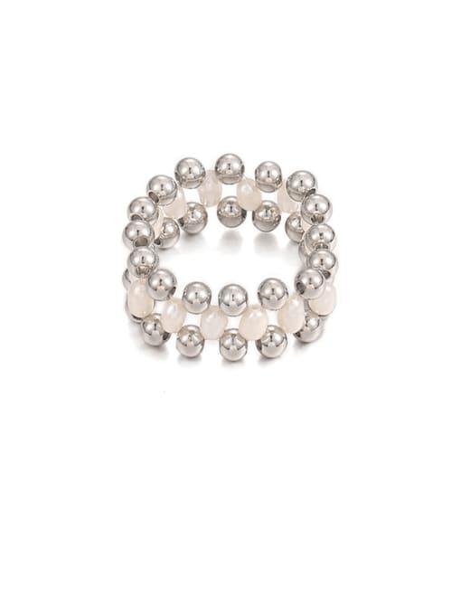 Steel color Stainless steel Imitation Pearl Geometric Minimalist Band Ring