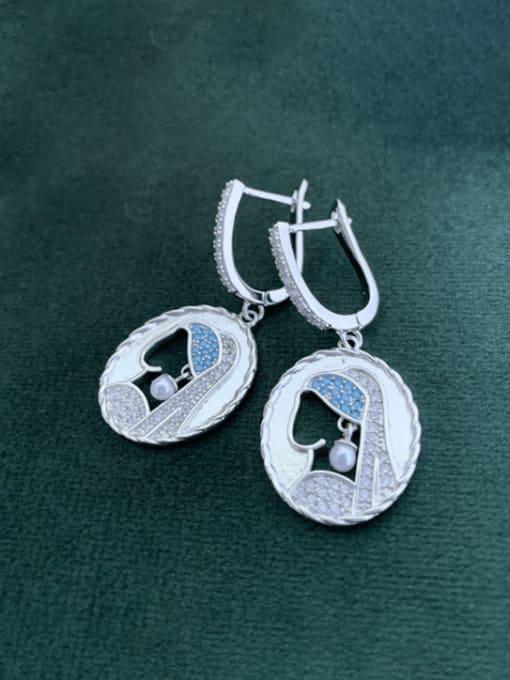 SUUTO Brass Cubic Zirconia Geometric Vintage Huggie Earring 0