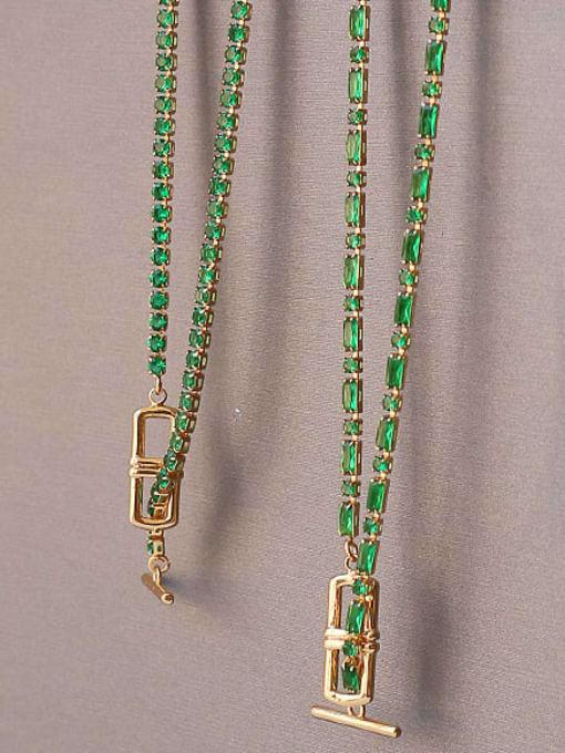 ACCA Brass Cubic Zirconia Geometric Vintage Lariat Necklace 2