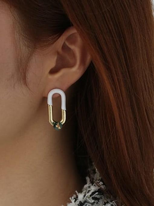 ACCA Brass Cubic Zirconia Enamel Geometric Hip Hop Stud Earring 1