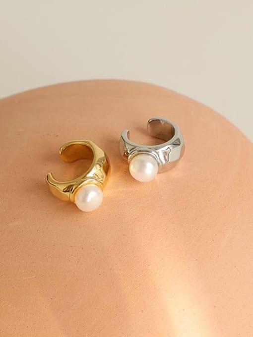 Five Color Brass Imitation Pearl Geometric Minimalist Single Earring