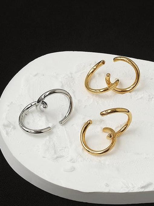 ACCA Brass Line Irregular Vintage Stud Earring(Single)