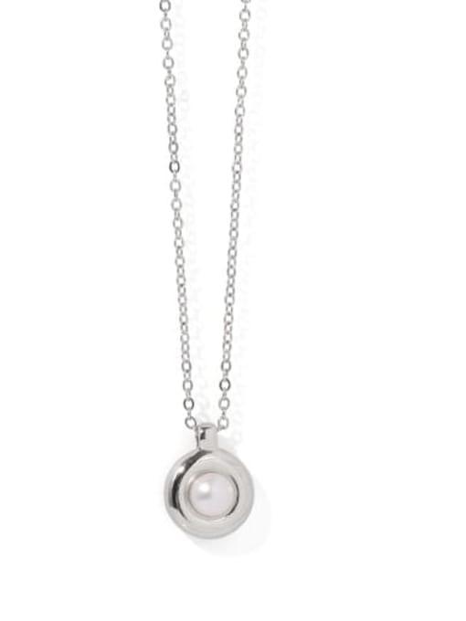 Platinum (natural pearls) Brass Imitation Pearl Geometric Vintage Necklace