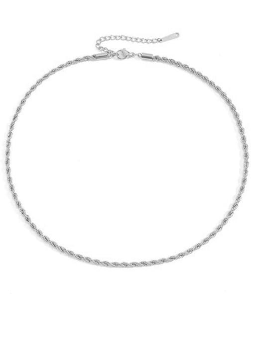 Steel color 3mm * 38 +5cm Stainless steel Irregular Hip Hop Necklace