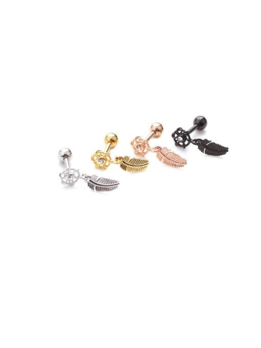 HISON Brass Cubic Zirconia Tree Leaf Vintage Stud Earring 4