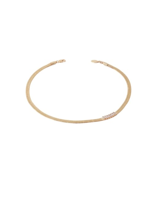 TINGS Brass Cubic Zirconia Geometric Minimalist Necklace