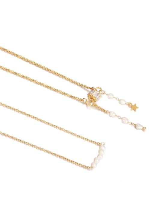 Five Color Brass Imitation Pearl Tassel Vintage Necklace 3