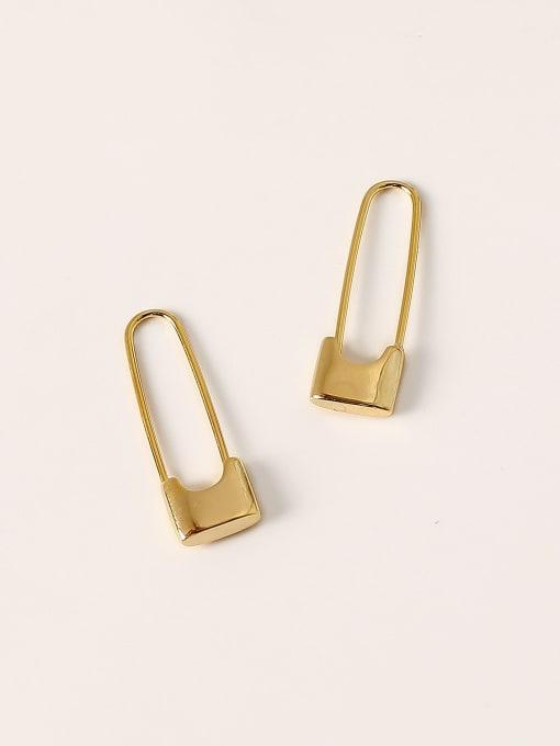 HYACINTH Brass Geometric Minimalist Hook Earring 2