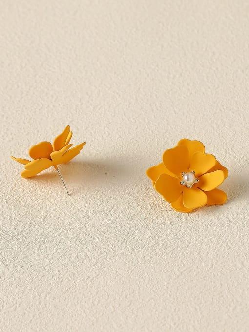 HYACINTH Brass Enamel Flower Cute Stud Trend Korean Fashion Earring 3