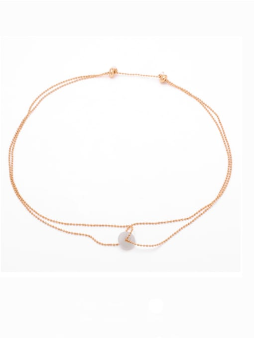 TINGS Brass Bead Geometric Hip Hop Multi Strand Necklace 0