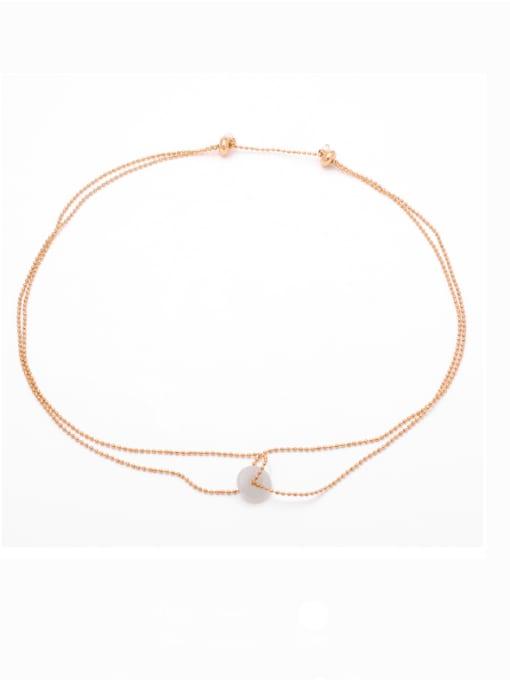 TINGS Brass Bead Geometric Hip Hop Multi Strand Necklace