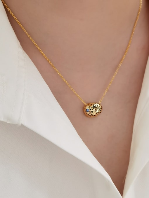 HYACINTH Brass Cubic Zirconia Geometric Vintage Necklace 1