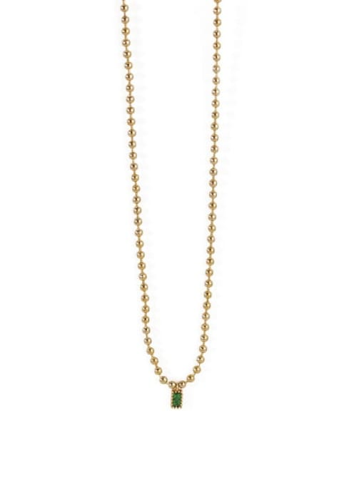TINGS Brass Bead Chain   Minimalist Geometric Pendant Necklace 2