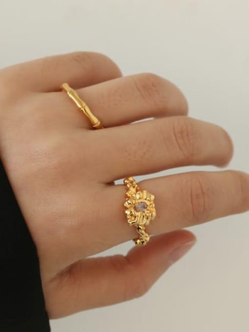 ACCA Brass Cubic Zirconia Irregular Vintage Band Ring