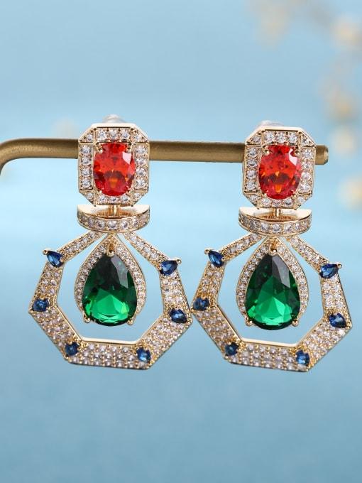 gold Brass Cubic Zirconia Geometric Luxury Drop Earring