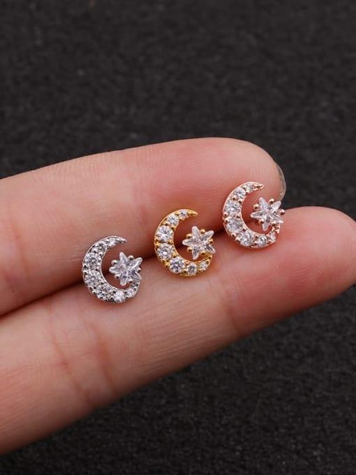 HISON Brass Cubic Zirconia Star Minimalist Stud Earring 0