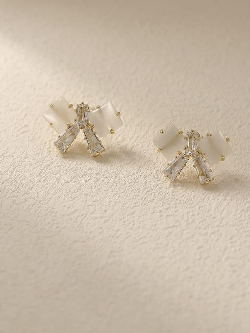 14k Gold Brass Cats Eye Bowknot Vintage Stud Earring