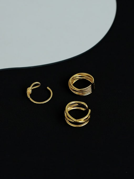 Five Color Brass Geometric Minimalist Stackable Ring 0