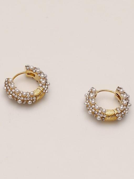 HYACINTH Brass Imitation Pearl Round Vintage Hoop Earring 3