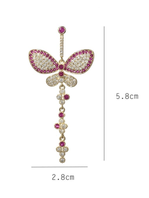 SUUTO Brass Cubic Zirconia Butterfly Statement Drop Earring 1